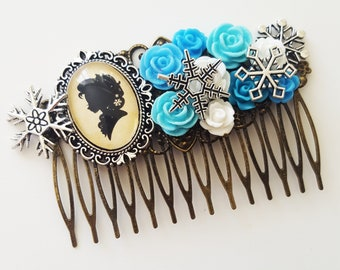 Elsa Frozen Disney Silhouette Fairytale Cameo Handmade Bridal Hair Comb Winter Wedding Hair Disney Wedding Bridesmaid Gift for Her
