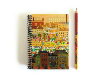 Street Market Notebook A6 Spiral Bound - Pocket Journal, Blank Sketchbook, Back to School, Writing Supply, 4x6 Inches, Diary, Gifts Under 20
