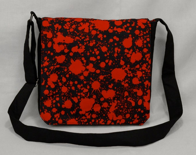 READY TO SHIP Blood Splatter Medium Size Canvas Messenger Bag, Tablet and Phone Zipper Pockets, Ready To Ship