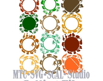 SVG Cut Files African Safari Zoo Animal Circle bundle of 12 Designs  MTC SCAL Cricut Silhouette Cutting Files