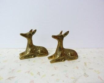 Vintage Brass Deer Fawns Lying Down Modern Detailed Brass Deer