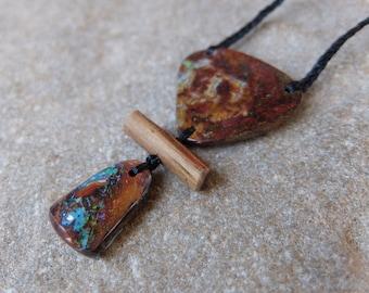 Boulder Opal & wood pendant necklace - handmade in Australia, NaturesArtMelbourne, opal fire in stone -  macrame jewellery
