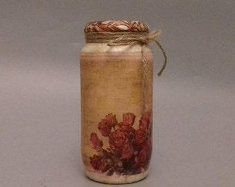 Vintage Flower Decorated Jar