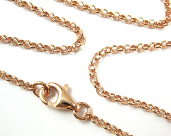 Rose Gold Chain Necklace-Rolo Chain Necklace-Rose Gold Plated Sterling Silver Necklace-2mm Rolo Chain-28 in. Long Necklace-SKU: 601005-RG-28