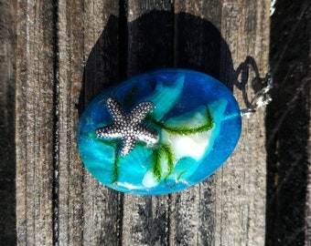 Starfish Sealife Resin Necklace, Beach Resin Silver Pendant, Sea Star, Seashell, Epoxy Resin, Beach Jewelry, Boho Jewelry, Unique Gift
