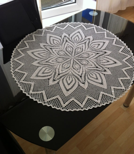 Crochet Doily White Tablecloth Extra Large Round Tablecloth