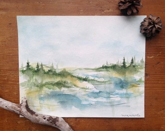By the Water - Original Watercolor Painting