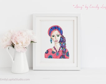 Art Print / Painting Invitations Stationary / Woman in Scarf  Red Hair Woman Green Eyes Hair Scarves  / Breast Cancer Awareness / Get Well