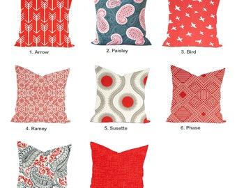 One Coral Outdoor  Pillow Covers, cushion, decorative pillow, throw pillow, Paisley Pillow, Orange Pillow