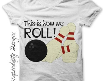 Bowling Iron on Shirt PDF - Sports Iron on Transfer / Kids Toddler Bowling Party Tshirt / Mens Bowlers Shirt / Bowling Shirt Design IT186