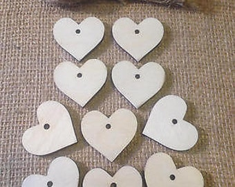 10 Wooden Heart Gift Tags / Wedding Favours / 35mm x 30mm