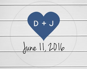 Save The Date Stickers, Transparent Initials Sticker, Clear Wedding Stickers, Wedding Favor Stickers (#091-C)