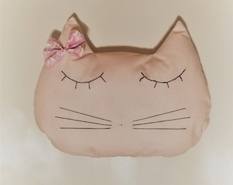 Pink cat shaped cushion / cat / decor / French