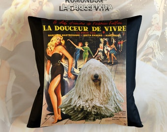 Komondor Art Pillow Case Throw Pillow - La Dolce Vita Movie Poster  Perfect DOG LOVER Gift for Her Gift for Him