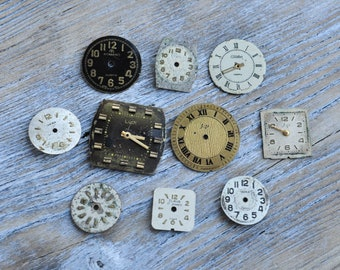 0.5-0.7 inch Set of 10 vintage little wrist watch faces.