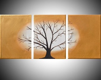 acrylic landscape vivid beautiful original paintings on canvas abstract triptych painting wall art contemporary art tree of life 27 x 12 ""
