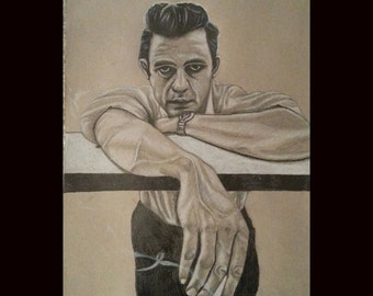 Johnny Cash - Pencil drawing on 8x12 tan toned paper - Original Drawing