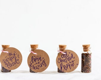 Wedding Favours - Tea in 8ml Glass Bottle - Edible Wedding Favour - Free Personalisation - Love is Brewing - Perfect Gift for your Guests