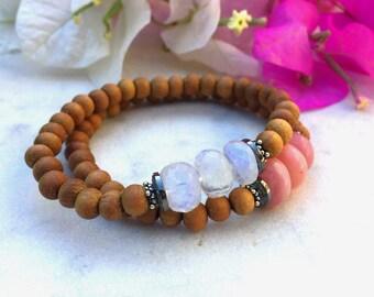 Diamond & sandalwood bracelet, rainbow moonstone and pink opal gemstone bracelets with pave diamond beads, chic stone bracelet, boho luxe