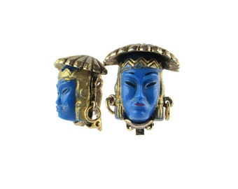 Selro Asian Princess Terendak Hat Earrings/ Selro Coolie Hat Earrings/Asian rice hat 斗笠 /Selro Blue Glass Asian Princess Earrings