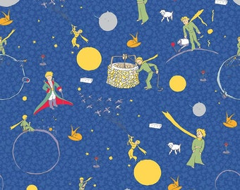 The Little Prince Main Navy - Riley Blake Designs - Boy Blue - Quilting Cotton Fabric - choose your cut
