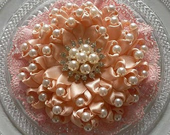 Handmade Ribbon Flower Lace Flower With Pearls  (4 inches) In Petal Peach and Dusty Rose MY- 703-121 Ready yTo Ship