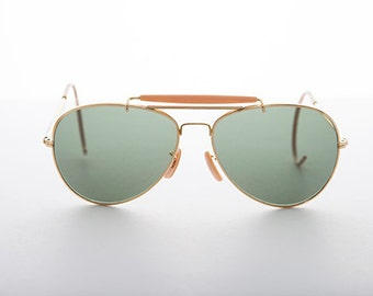 Vintage Aviator Sunglasses with Cable Temples and Glass Lens - Wolfman