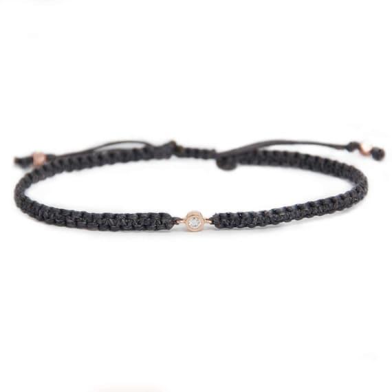 diamond friendship bracelet in 14k solid gold minimalistic. Black Bedroom Furniture Sets. Home Design Ideas
