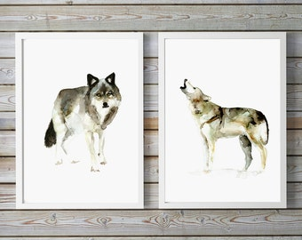 Wolf Art - set of 2 giclee Prints - Wolf Watercolor - Animal Painting - Wolf Painting Wolf illustration - wolves drawing - wild animal
