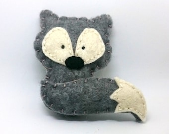 Grey fox ornament -  woodland decoration nursery room decor for kids babies men women gift idea nature themed Baby shower