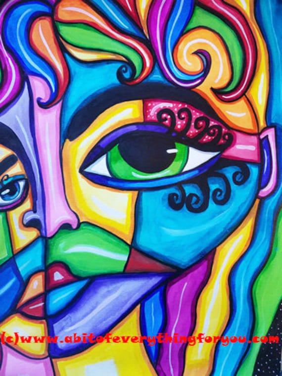 "Beautiful Woman Abstract art painting original watercolors cubist original abstract face painting 11"" x 15"" Modern art Elizavella Bowers"