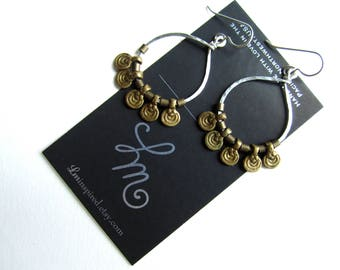 Antique Brass Trade Bead Spirals on Petite Hammered Hoop Sterling Silver Earrings by LM-inspired