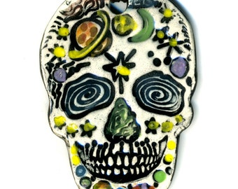 Space Day of the Dead Skull Ceramic Necklace