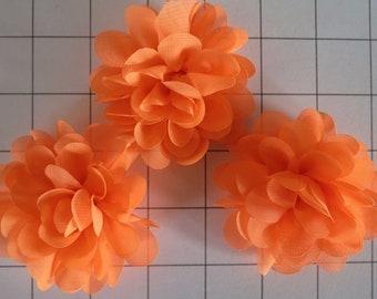 "Set of 3 2.75"" Neon Orange Chiffon Flowers Embellishments Dance Costumes! (E-41)"