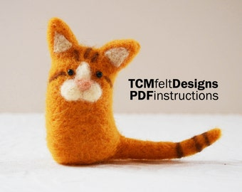PDF Needle Felting Kitty instructions, wool DIY fiber instructions for beginners