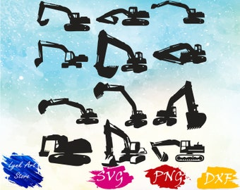 Excavator Construction svg/Excavator svg,png,dxf/Excavator clipart for Print/Design/Cricut/Silhouette...etc