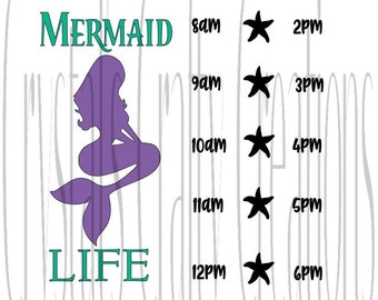 Mermaid Life Timeline Water Bottle SVG File Ready To Use