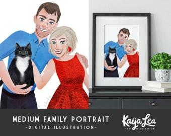 MEDIUM Family Portrait | Custom Portrait Illustration |  DIY Digital Printable | Custom Anniversary Portrait | Custom Pet Portrait