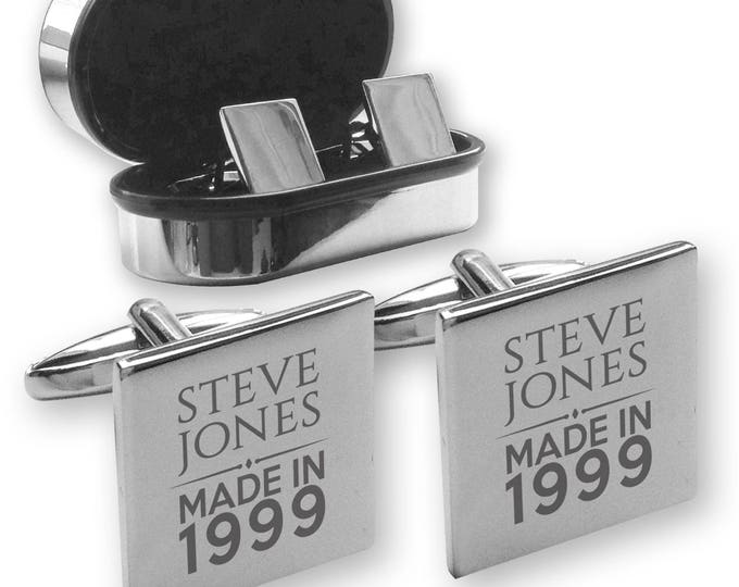 Personalised engraved 18TH BIRTHDAY cufflinks, in a chrome coloured presentation box, Made in 1999 - MAD18