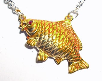 Goldfish, gold vermeil necklace, enamelled silver and ruby pendant.