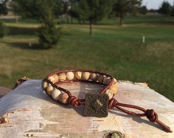 Jasper Stone -Brown Leather Bracelet - Metal Button Closure
