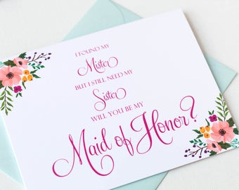 I FOUND MY MISTER But I Still Need My Sister Card | Maid of Honor Proposal Card | Wedding Party Cards | Maid of Honor Gift | Style #LGW2162