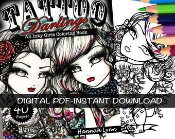 PDF DIGITAL Printable Coloring Book All Ages TATTOO Darlings Girls Mermaid Fairy Art by Hannah Lynn