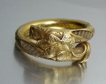 Antique (1856) Civil War Era IVY Wedding Band 18K. Everlasting Love.