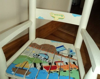 Child Rocking Chair- Kid Rocking Chair- Small Rocker- Construction- Personalized Hand Painted Rocking Chair