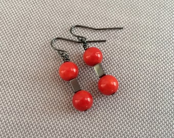 Red coral dangle earrings, minimalist drop earrings. Delicate red drop earrings. Minimal earrings, red drop bead. Coral bead simple earing