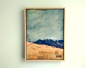 "Colorado Art, 9""x12"" Original in a 10x13 floating frame, Mixed Media, Colorado Mountains, Sangre De Cristo, National Park ""Great Sand Dunes"""
