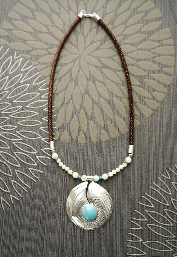 Turquoise Bib Necklace, with a Sterling Silver & Turquoise Pendant, Koi Fish Design, Leather Torque, Boho Necklace