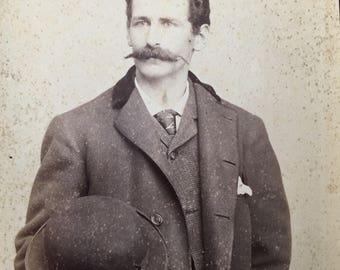 Mustache Victorian Hottie Bowler Hat Vintage Photo Cabinet Card