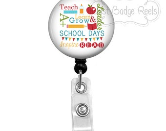 Badge Reel Holder - School Teacher Badge Reel - Teacher Badge Holder - Retractable Badge Reel - School Days Badge Reel 1050